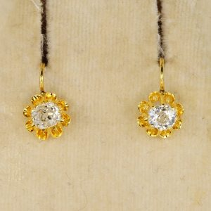 Stunning Victorian High Grade Old Mine 1.0 Ct Diamond Earrings