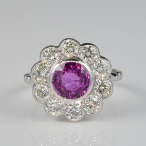 Superb Art Deco 2.0 Ct Natural Ceylon Pink Sapphire 150 CT Diamond Platinum Ring