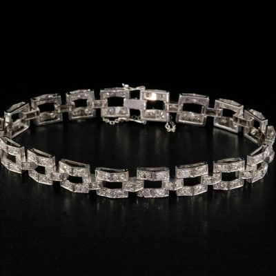 Beautiful Art Deco 5.40 Carat Diamond Solid Platinum Bracelet