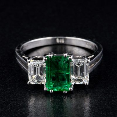 Art Deco Natural Colombian Emerald Diamond Trilogy Platinum ring