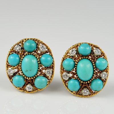 Fabulous Natural Turquoise Diamond Estate Earrings