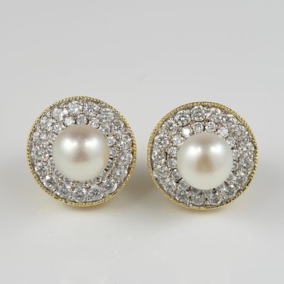 Stunning Art Deco Natural Pearl Diamond Night Day Stud Earrings