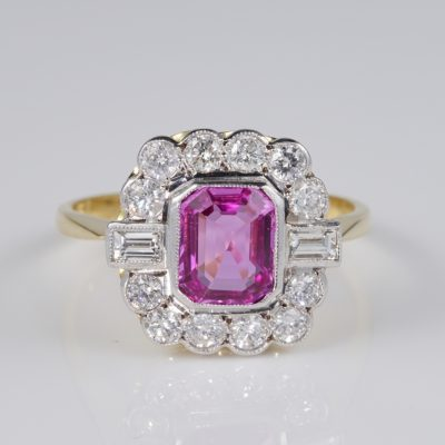 Late Art Deco 1.70 Carat Natural Pink Sapphire 1.04 CT Diamond Platinum Gold Ring
