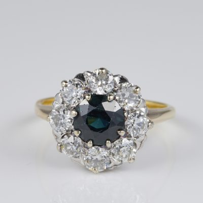 Authentic Victorian 1.80 Ct Natural Sapphire .80 Ct old cut Diamond Ring
