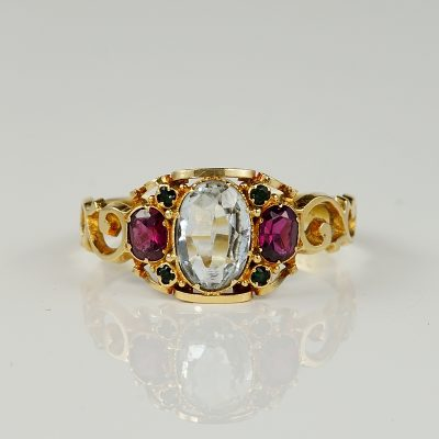 Delightful Victorian Aquamarine Ruby Trilogy Ring