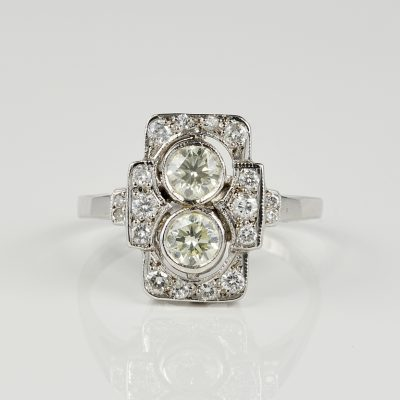 Late Art Deco .96 CT G VVS Diamond Twin Ring