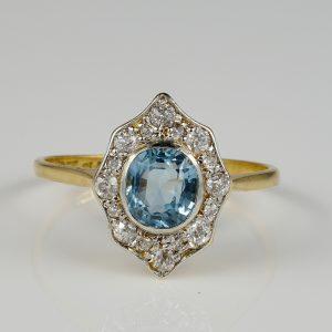 Authentic Edwardian 1.30 Ct Aquamarine 1.04 Diamond Gold Platinum Rare