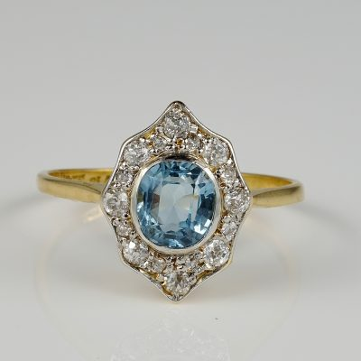 Authentic Edwardian 1.30 Ct Aquamarine 1.04 Diamond Gold Platinum Rare