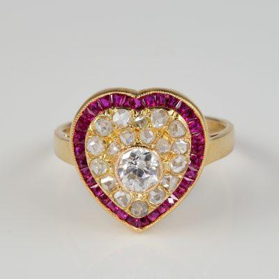 Exquisite Victorian Diamond Ruby Rare Heart Ring