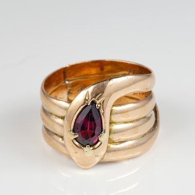 Victorian Triple Coiling Pirope Garnet Snake Ring