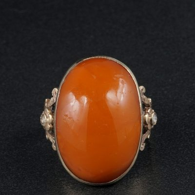 Georgian Antique Natural Butterscotch Amber Rare Ring