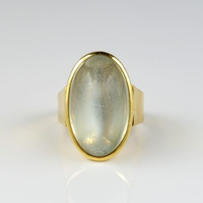 Art Deco 21.0 Carat Moonstone Solitaire Ring
