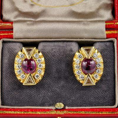 Fantastic Art Deco 5.0 Carat No Heat Ruby 3.90 Carat Diamond earrings