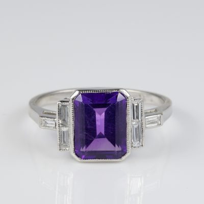 Art Deco 2.30 Ct Natural Amethyst Baguette Diamond Platinum Ring