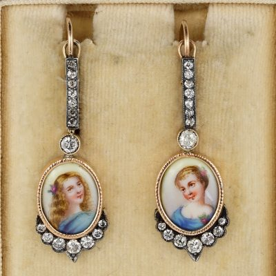 Stunning Victorian 1.40 Ct Diamond Miniature Drop Earrings