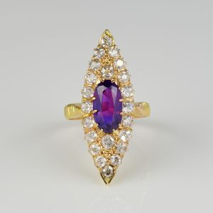 Victorian 1.80 Ct No Heat Purple Ceylon Sapphire  2.0 Ct Diamond Navette ring