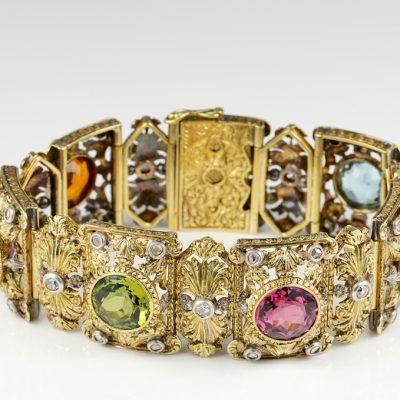 Magnificent Edwardian 36.0 Carat Untreated Multigem Stone Diamond Rare Bracelet