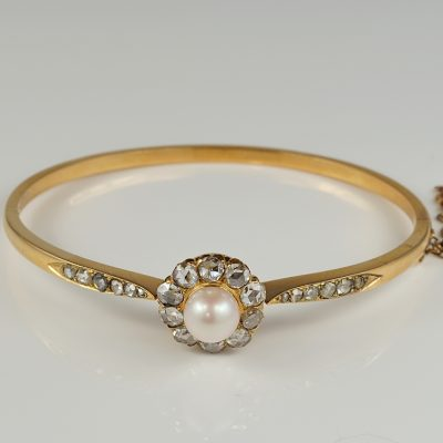 Victorian Pearl and Diamond Rare 18 KT Rose Gold Bangle