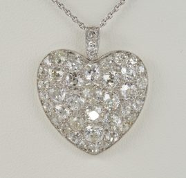 Edwardian 6.0 Ct Mine Cut Diamond Rare Sentimental Heart Pendant with Chain