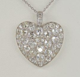 Edwardian 6.0 Ct Mine Cut Diamond Rare Sentimental Heart Pendant with Chain
