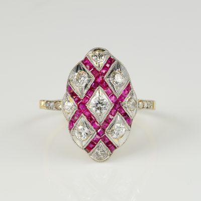 Divine Edwardian Old European Diamond Natural Ruby Ring