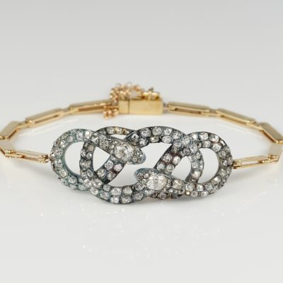 Spectacular 6.0 Ct Old Mine Cut Diamond Rare Snake bracelet 1850 ca