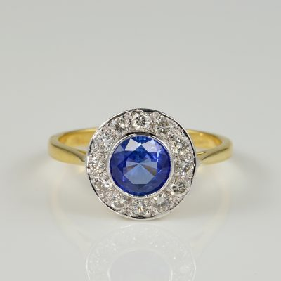 Gorgeous  Art Deco 1.10 Ct Natural Sapphire .60 Ct Diamond ring