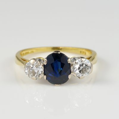 Beautiful English 1.40 Ct Natural Sapphire Diamond Trilogy Ring
