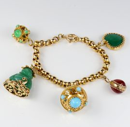 Antique Multi gem Charm Bracelet Beautiful