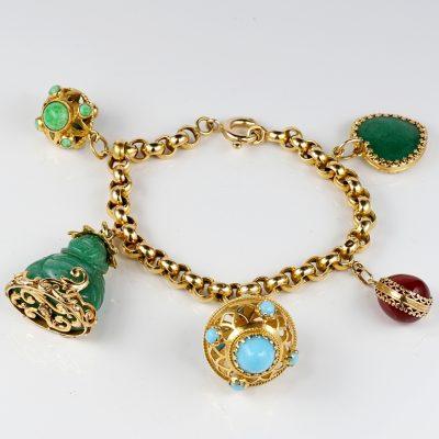 Antique Multi gem Charm Bracelet Beautiful