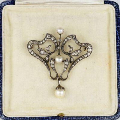 Art Nouveau Diamond Pearl Rare Brooch Pendant