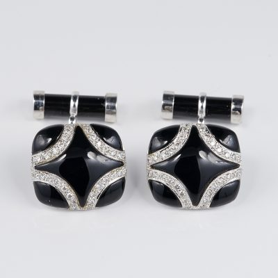 Spectacular Art Deco Black Onyx Diamond gent Cuff links