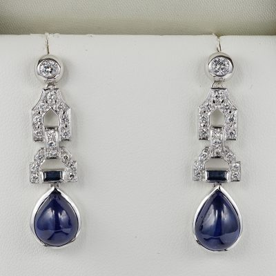 Sensational Late Art  Deco Natural Sapphire and Diamond ear drops