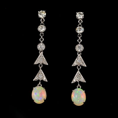 Spectacular Mid Century 1.90 Ct Diamond G VVS Australian Opal Long Earrings