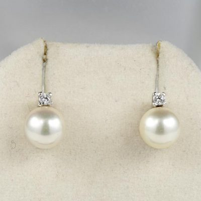 Superb Mid Century Pearl and Diamond Earrings