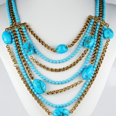 Natural Turquoise 18 Kt Vintage Multi Strand Necklace and Bracelet Set