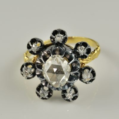 Impressive Georgian Diamond Flower ring 1800 ca