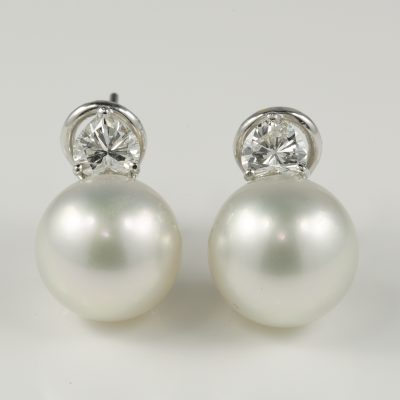 AAA Quality 12 mm South Sea Pearl Heart Diamond 1.0 CT G VVS Earrings