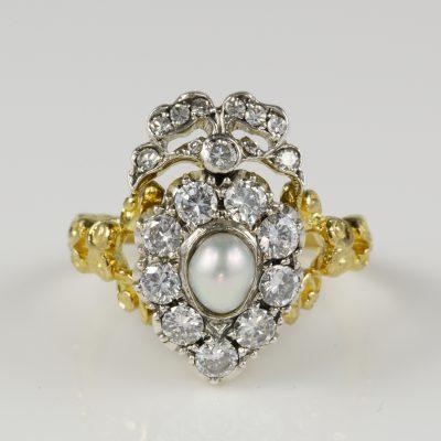 Victorian Romantic Era Heart Bow 1.0 Carat Diamond Pearl Ring