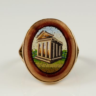 Victorian Gold stone The Pantheon large Micro-mosaic Ring