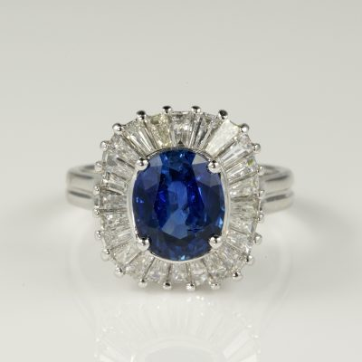 Superb 3.0 Ct Natural Ceylon Sapphire 2.0 Ct Diamond Ballerina Ring