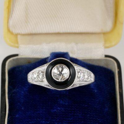 Art Deco 1.0 full Carat Diamond Black Onyx Rare Target Engagement ring