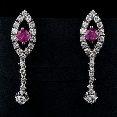 Terrific Burma Ruby 2.70 Ct Diamond Cluster Earrings 60's!