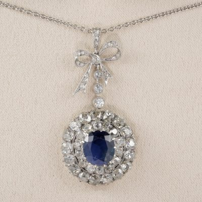 French Belle Epoque Unheated Sapphire 5.10 Ct Diamond Platinum Pendant