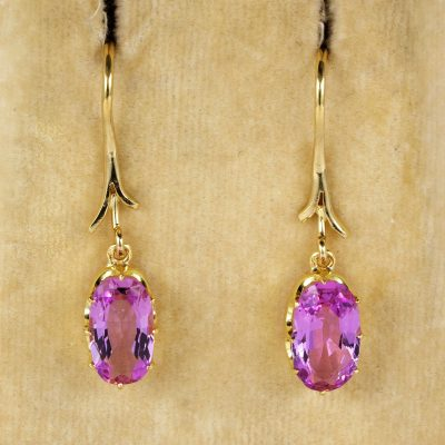 Exquisite French Victorian Rare Untreated Pink Topaz Solitaire Drop earrings