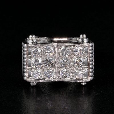 SPECTACULAR ORIGINAL ART DECO 1.90 CT DIAMOND WIDE BUCKLE RING!