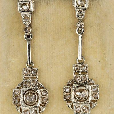 Charming Early Art Deco Rose Cut Diamond Rare Dangling Earrings