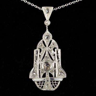 Delightful Art Deco .75 Ct Rose Cut Diamond Rare 18 KT Pendant