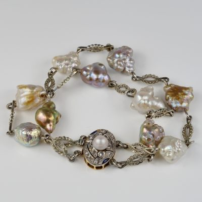 Edwardian French Certified Natural USA Pearls Diamond Platinum Bracelet