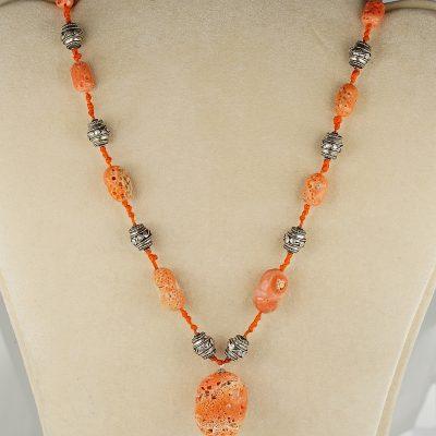 Vintage Natural Sponge Coral Sterling Silver Necklace
